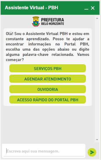 Captura de tela do Assistente Virtual